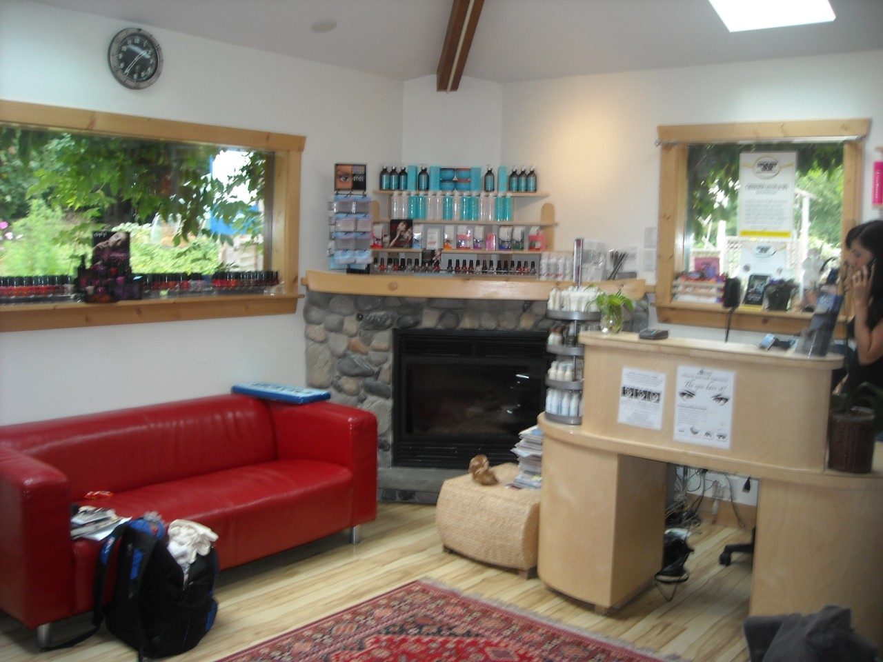 Reception area with fireplace