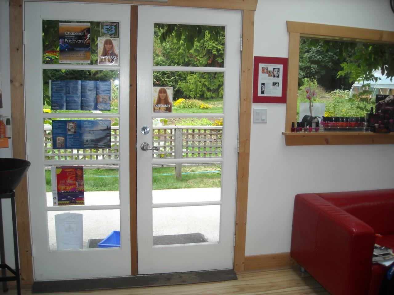 Inside door looking out