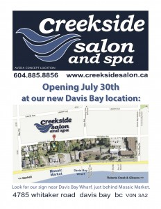 Creekside Salon moving to Davis Bay